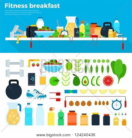 Fitness breakfast vector flat illustrations. Healthy food and fitness tools on the table. Healthy eating and diet concept. Water, fruits, vegetables, phone, running shoes and dumb-bells isolated on white background