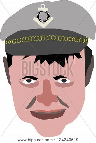 vector sailor in the hat illustration with gold circles
