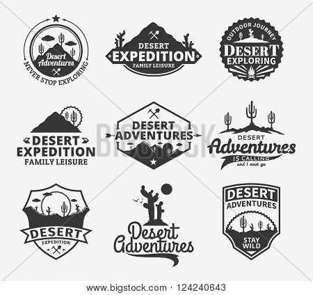 Set of vector desert adventures logo. Desert wild nature icons for tourism organizations outdoor adventures and camping leisure.