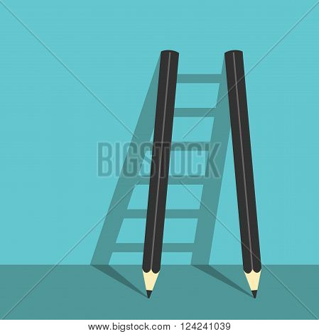 Success ladder of two pencils and shadows on turquoise blue background. Creative career creativity and goal concept. EPS 8 vector illustration no transparency