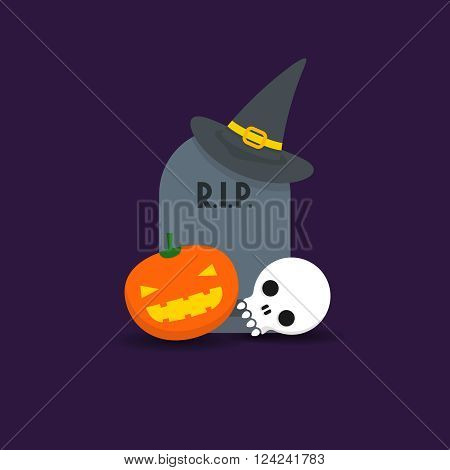 Halloween background with tombstone witch hat jack-o'-lantern pumpkin and skull