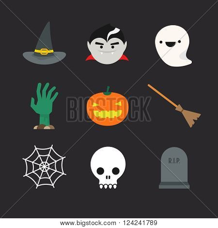 Flat halloween icons. Witch hat and broom vampire ghost undead hand pumpkin lantern spider web skull and tombstone