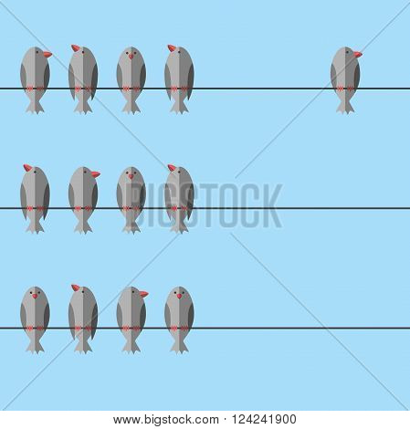 Group of birds perching on wire together and an independent free unique one apart. Courage will power individuality leadership concept. EPS 8 vector illustration no transparency
