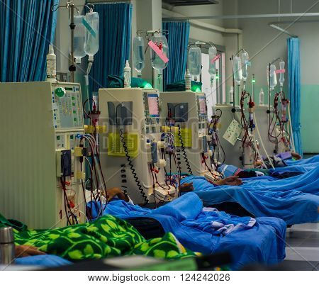 In the hospital for dialysis patients with CKD.