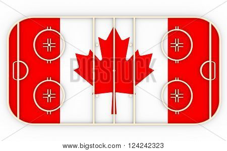 Ice hockey field textured by Canada flag. Relative to world competition . 3D rendering. Simple playground