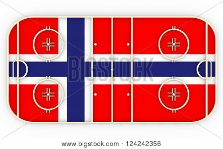Ice hockey field textured by Norway flag. Relative to world competition . 3D rendering. Simple playground