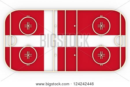 Ice hockey field textured by Denmark flag. Relative to world competition . 3D rendering. Simple playground