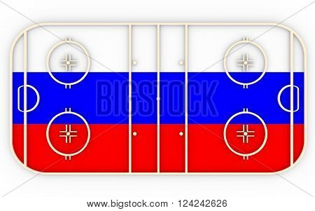 Ice hockey field textured by Russia flag. Relative to world competition . 3D rendering. Simple playground