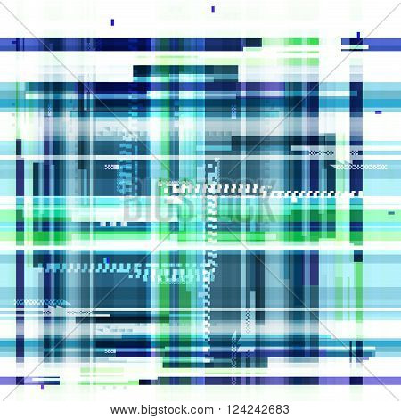 Abstract blue wallpaper in the style of a glitch pixel. Purple geometric pattern noise. Grunge, modern background with dead pixel and bug, glitch and error signal. Glitch background for presentation.