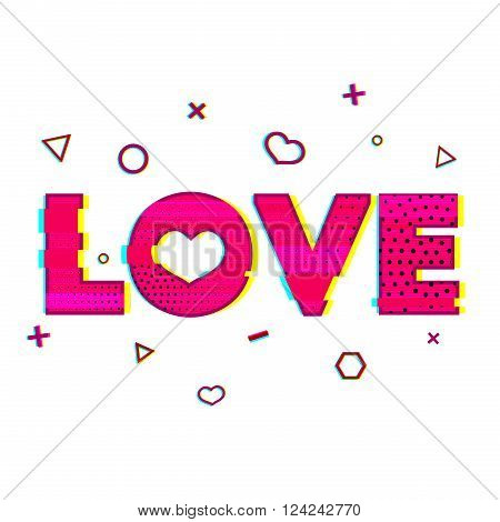 Romantic banner with the word love in the style of a glitch. Pink word love with a noise texture. Romantic love is a word for greeting cards, banners, posters in the Glitch style. Vector illustration