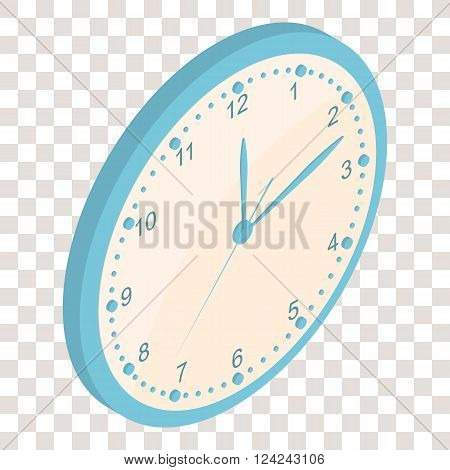 Isometric Wall clock. Clockwise. The Bright Dial. Round-the-clock. The clock is ticking. Blue color. Realistic clock icon. Vector illustration.