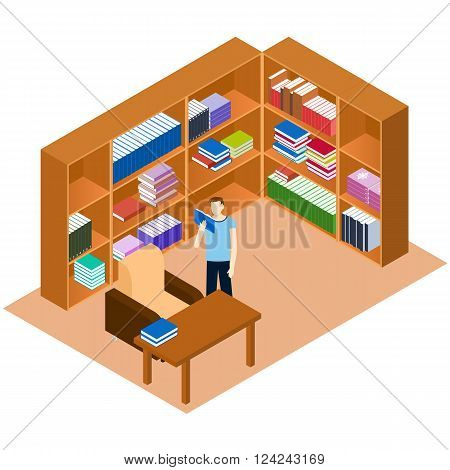 Library isometric. Man reading a book. Comfortable place for reading books. The personal library in the house. Bookshelves with stacks of books. A work Desk and a sofa. Vector illustration.
