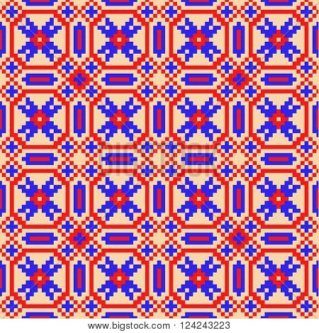 Traditional russian ukranian square ornament in blue and red colors.