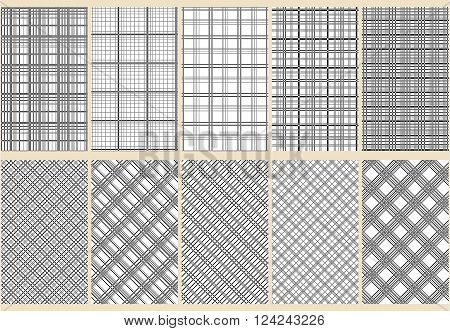 Ten abstract seamless patterns. Black and white colors. Horizontal vertical and diagonal lines. Strict style. Vector illustration.
