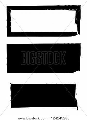 Grunge black frame vector background set. Dirty stylish shape. Ink blot background