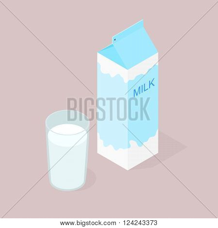 Package natural milk. The isometry. A glass of delicious and healthy milk for Breakfast. Natural product. The benefits of milk. Milkshake in a glass. Cow or goat milk. Vector illustration.