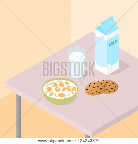 Breakfast for the whole family. A carton of milk. The flakes in the bowl milk. Cookies with chocolate chips. Healthy Breakfast. The table with the food. Vector illustration.