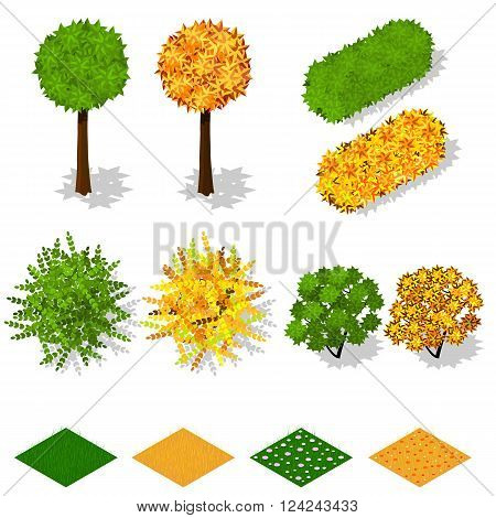Isometric trees bushes grass flowers. Summer green foliage. Yellow autumn foliage. Ecology and landscaping. Nature and the ecology of the planet. Vector illustration