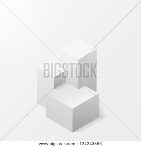 A pedestal on a white background. The isometry. White stand for the winners. The first second and third place. The award Champions of competitions. Vector illustration.