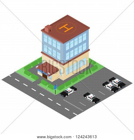 The building of the police station in the isometric. Police cars. The facade of the building. Map of the area. Skyline. The two-story police building. Vector illustration.