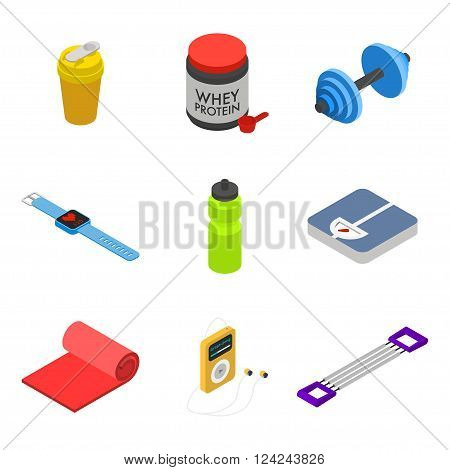 Isometric fitness icon set movable objects isolated on white background: shaker whey protein jar dumbbell smart bracelet with heart rate monitor bottle scales mat audio player hand expander.