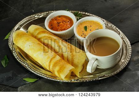 Dosa with Sambar and chutney south Indian breakfast