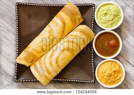 Masala Dosa with Sambar and chutney south Indian breakfast