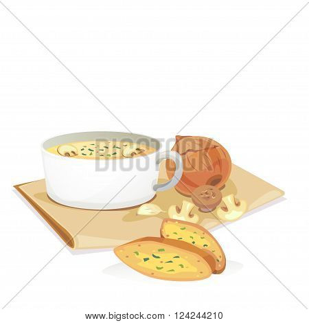 Mushroom soup in a bowl and a plate with onions garlic fresh mashroom and garlic bread.