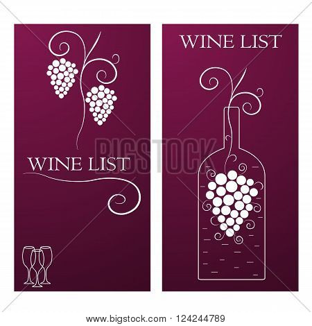 Wine list. A vine with clusters of grapes. A bottle of wine on the banner. Three glasses of wine. The purple background. Alcoholic menu. Vector illustration.