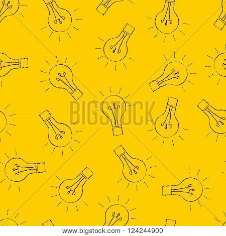 Doodle light bulbs seamless pattern. The black outline of incandescent lamps. Bright yellow background. Creative idea. Sloppy sketch design. Vector illustration.