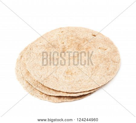 Pile of wheat tortillas isolated over the white background