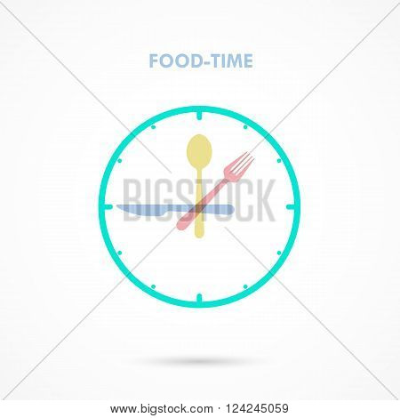 Food TimeLunch Time icon.Eating time concept.Forkknife and spoon sign.Businessfood and drink concept. Vector illustration.