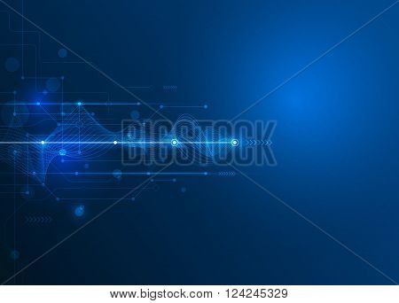 Vector Abstract futuristic circuit board and mesh line. Illustration high computer and Communication technology on blue color background. High tech digital technology, global social media concept