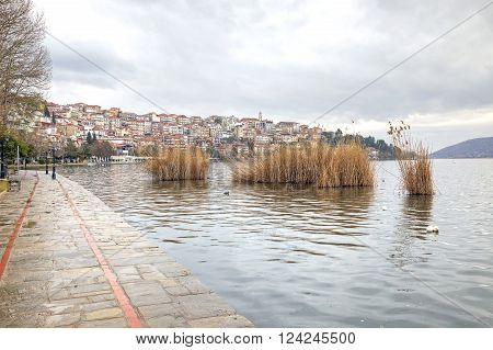 The city of Kastoria. City embankment of Lake Orestiada