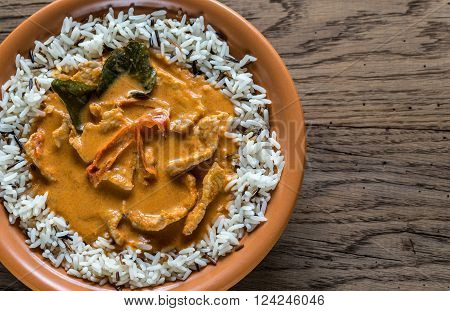 Thai Panang Curry With Mix Of White And Wild Rice