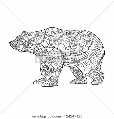 Bear. Animal. Hand drawn bear isolated on white. Zentangle style. Vector illustration animal for anti stress coloring page. Coloring for adults anti-stress bear pattern. Vector