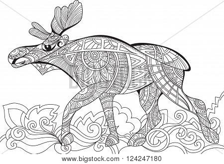Elk. Decorative elk. Monochrome sketch. Animal collection. Coloring Page with high details on white background illustration in zentangle style. Art therapy for adults. Doodle and zentangle. Vector