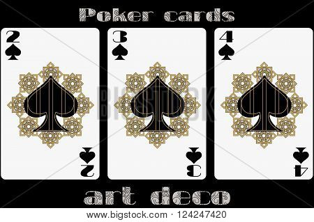 Poker Playing Card. 2 Spade. 3 Spade. 4 Spade. Poker Cards In The Art Deco Style. Standard Size Card
