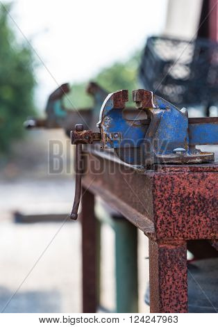 old rusty iron grip of industrial equipment