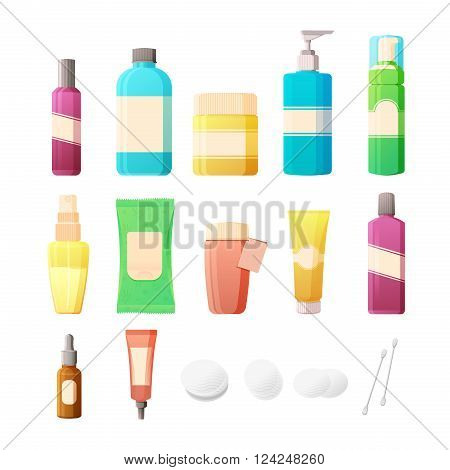 Cosmetics Set in flat style. Bottles of cosmetics and accessories for skin care. Lotions, creams, tonics and pads for care of a woman's face. Vector
