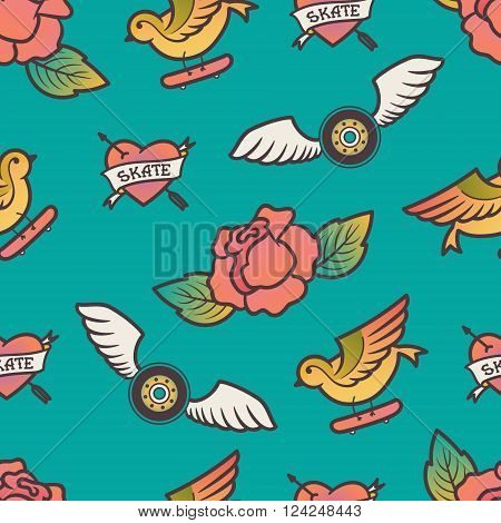 Tattoo  heart, wheels, bird and skateboard illustration seamless pattern