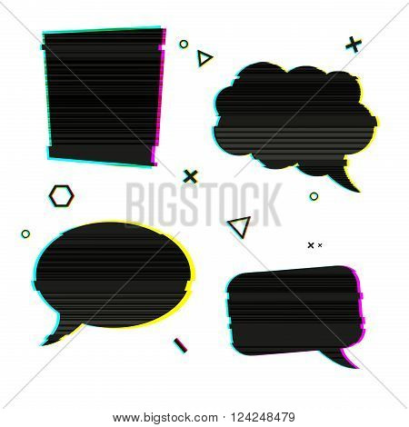 Speech bubble icons in the style of a glitch on white background. Banner design with vsh effect, glitch and noise for presentation, web banner. Vector illustration