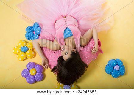 Beautiful daydreaming girl in a fantasy setting