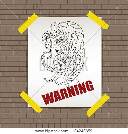 Warning. Abstract medusa head. Vector illustration, EPS 10