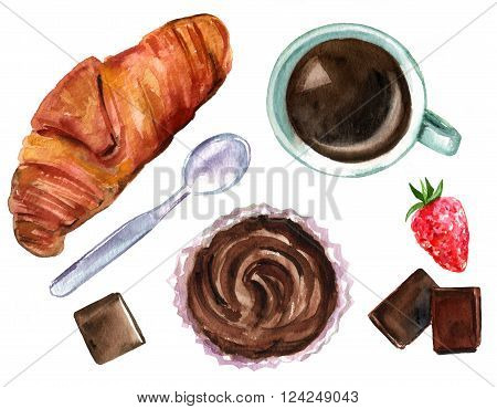 The perfect breakfast illustration with a hand drawn (overhead view) watercolor croissant, a cup of coffee, chocolate pieces, a strawberry, and a cupcake, on white background