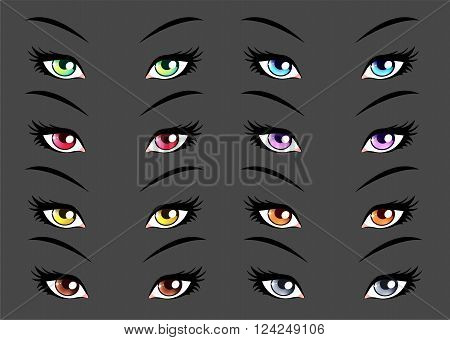 Set of anime, manga style eyes. Vector