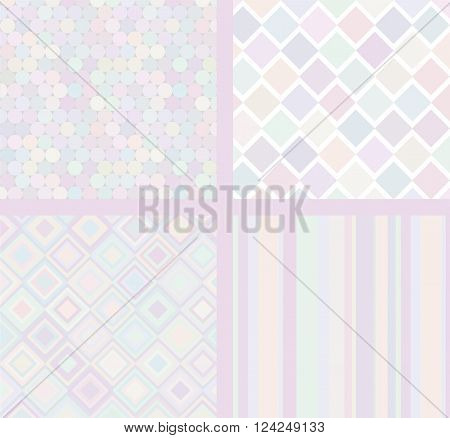 Vector set of four simple backgrounds. Gentle and tender colors.