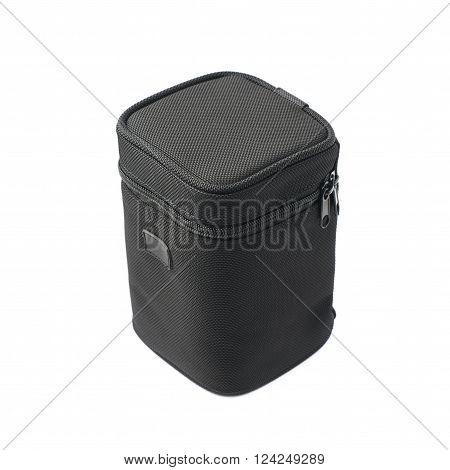Black lens case bag isolated over the white background