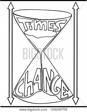 Sandglass hand drawn doodle style, sketch vector illustration