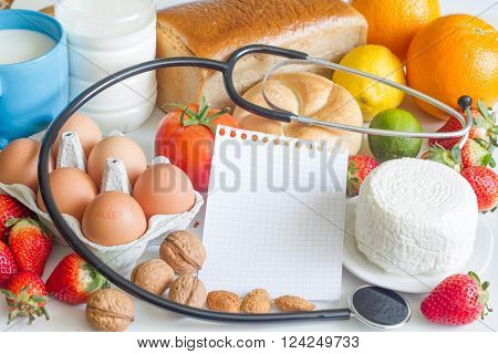 Allergy food and beverages with stethoscope abstract concept